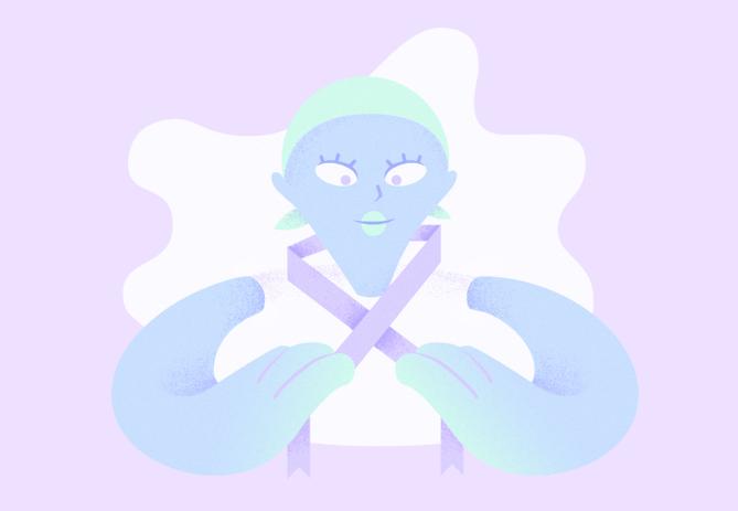 illustration représentant un personnage malade tenant un ruban, symbole de la lutte contre le cancer
