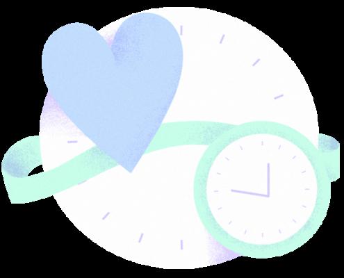 illustration représentant un coeur et une horloge