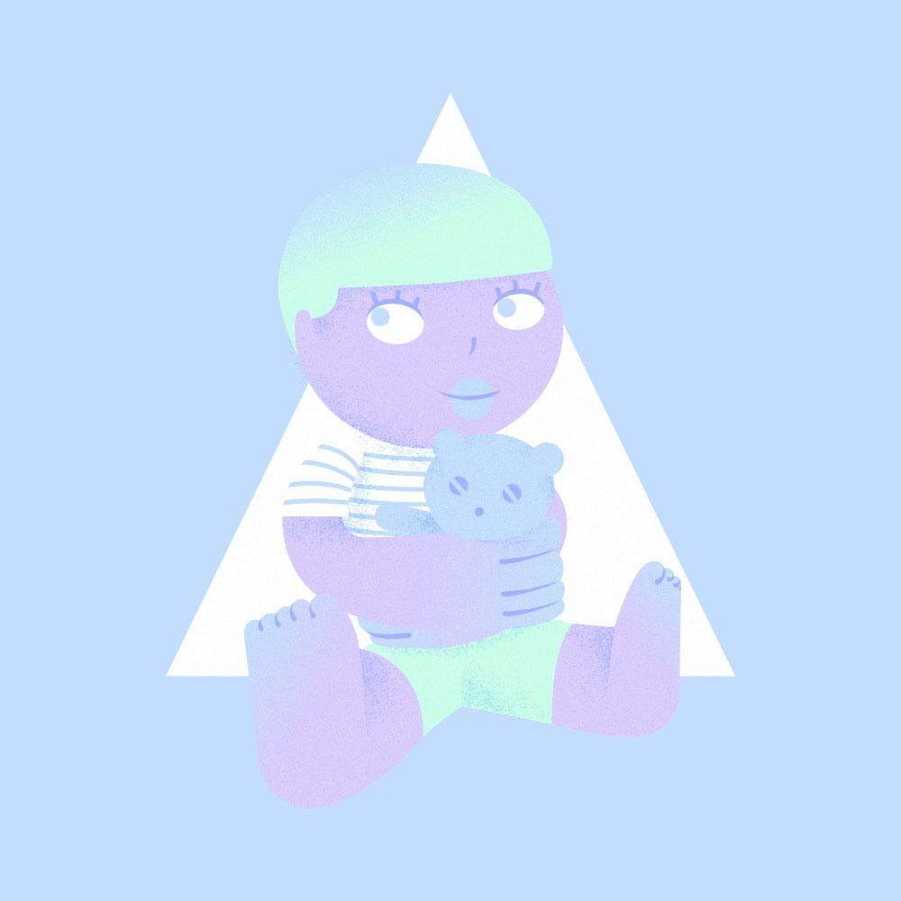 illustration représentant un enfant tenant un ours en peluche
